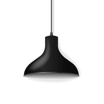 Czarna wisząca lampa na białym tle