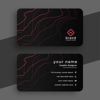 Czarna wizytówka z czerwonymi liniami