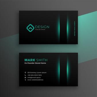 Czarna wizytówka z turkusowym kolorem
