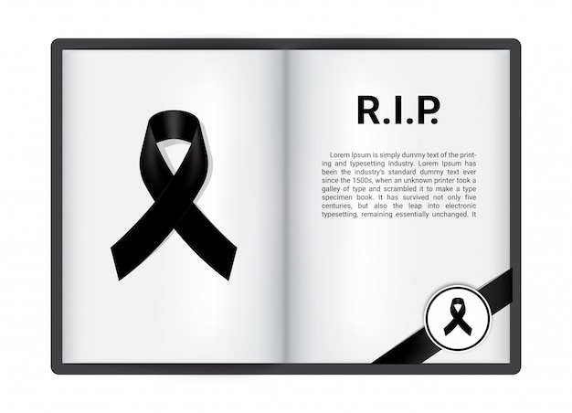 Czarna wstążka na otwartej książce blanck