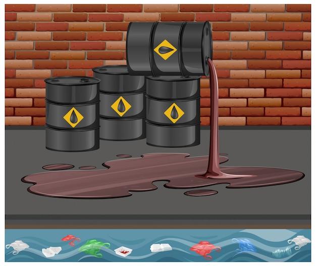 Czarne baryłki ropy naftowej z surowym znakiem wyciek oleju na podłodze na tle cegły