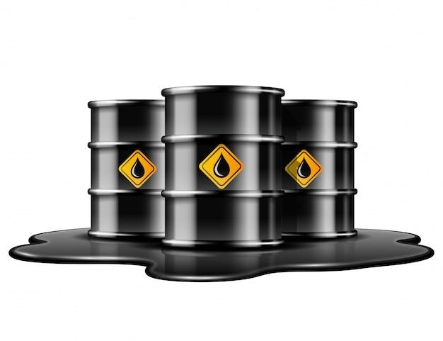 Czarne beczki z etykietą kropli oleju na rozlanej kałuży ropy naftowej. ilustracja na białym tle