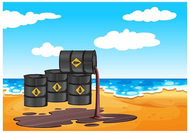 Czarne beczki z ropą naftową rozlewają olej na podłodze na plaży