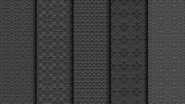 Czarne bez szwu kwiatowe wzory