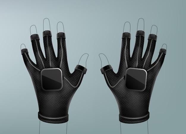 Czarne bezprzewodowe rękawiczki wirtualnej rzeczywistości założone na ręce sztuki linii widok z góry