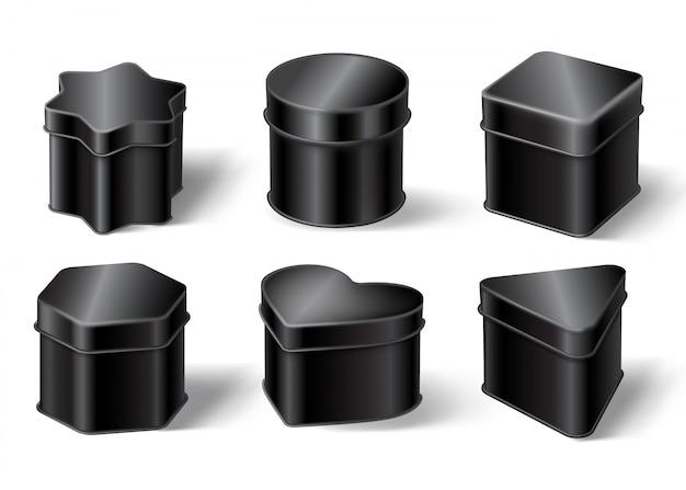 Czarne blaszane pudełka