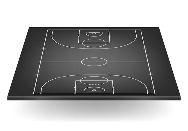 Czarne boisko do koszykówki.