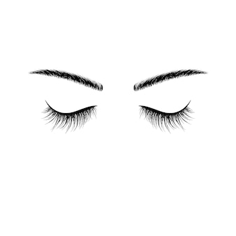 Czarne brwi i rzęsy zamknięte oczy