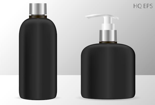Czarne butelki szamponu i dozownika mydła kosmetyczne