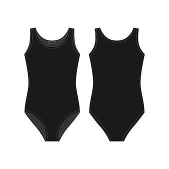 Czarne ciała nosić dla dziewcząt na białym tle. szkic techniczny bielizna damska.