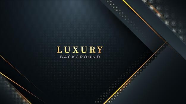 Czarne ciemne abstrakcyjne tło ze złotymi liniami i ukośnymi kształtami nowoczesny wygląd luksusowy design