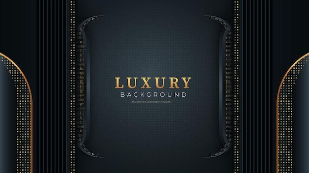 Czarne ciemne abstrakcyjne tło ze złotymi liniami i ukośnymi kształtami nowoczesny wygląd luksusowych projektów koncepcyjnych
