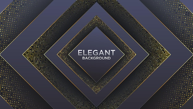 Czarne ciemne tło premium z luksusowym wielokątnym wzorem i złotymi liniami trójkąta
