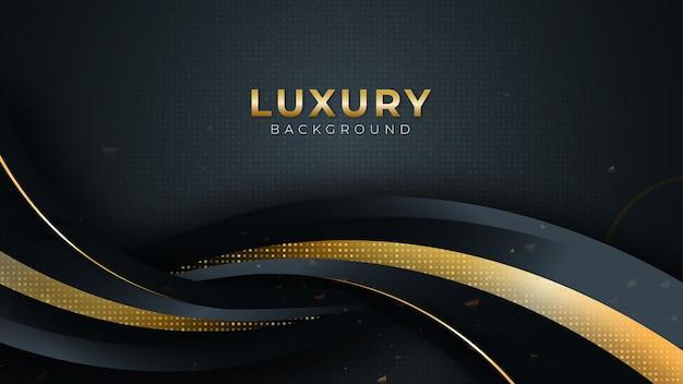 Czarne ciemne tło z luksusowym tłem ze złotymi krzywymi i żoną na ciemności, ilustracja wektorowa
