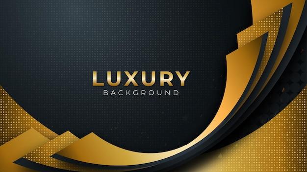 Czarne ciemne tło z luksusowymi złotymi krzywymi na ciemności, ilustracji wektorowych