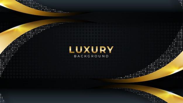 Czarne ciemne tło ze złotym kolorem krzywej kształtuje nowoczesny luksusowy design