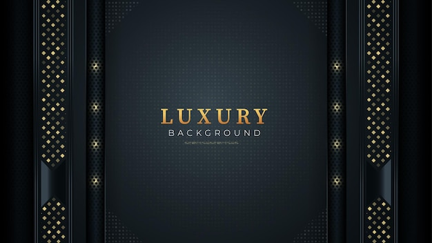 Czarne ciemne tło ze złotymi kształtami nowoczesny luksusowy design