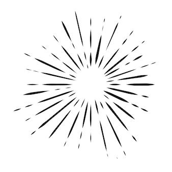 Czarne doodle sunburst