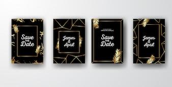 Czarne eleganckie zaproszenia ślubne ze złotymi liśćmi