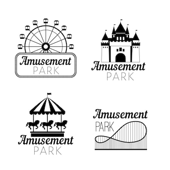 Czarne emblematy parków rozrywki