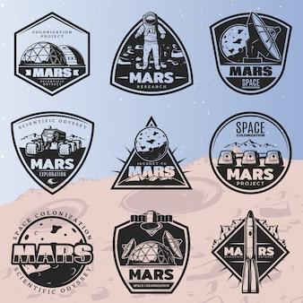 Czarne etykiety odkrycia kosmosu vintage z napisami