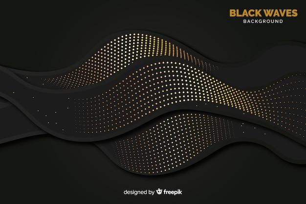 Czarne fale tła z efektem półtonów