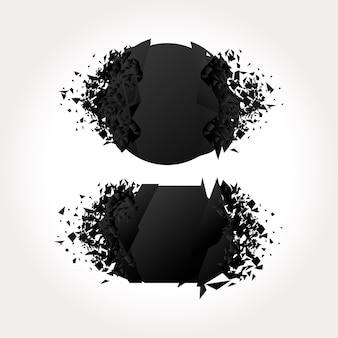Czarne geometryczne banery wybuchu