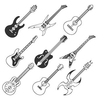 Czarne gitary wektorowe sylwetki