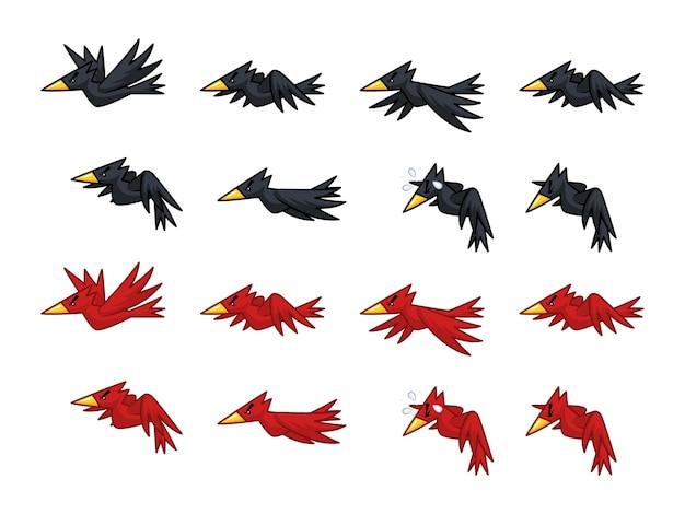 Czarne i czerwone wrony gra sprites
