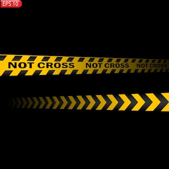 Czarne i kolorowe linie ostrzegawcze na białym tle. realistyczne taśmy ostrzegawcze. znaki ostrzegawcze. tło.