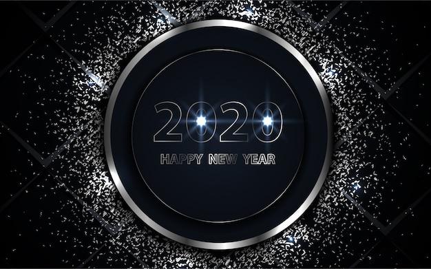 Czarne i srebrne tło szczęśliwego nowego roku z elementem blask