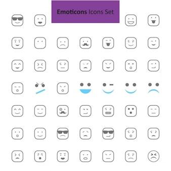 Czarne i szare emotikon zestaw ikon