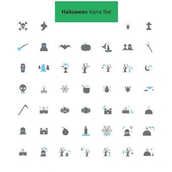 Czarne i szare halloween zestaw ikon