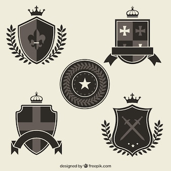 Czarne i szare szablony knight emblemat