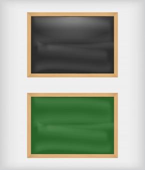 Czarne i zielone puste tablice kredowe