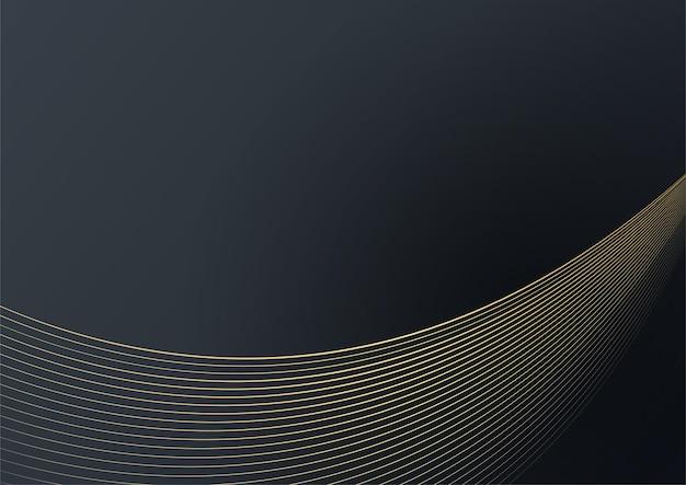 Czarne i złote tło tkaniny. wypaczona, machająca błyszcząca linia paski czarne złote tło vector