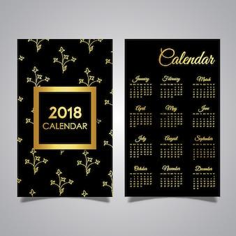 Czarne i złote wzory kalendarza