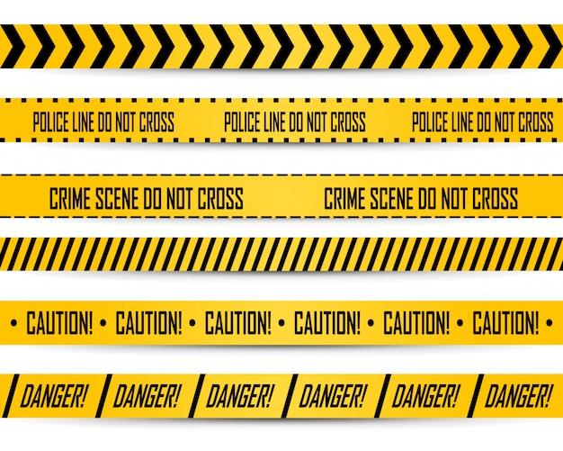 Czarne i żółte paski policyjnej taśmy do nie przekraczania, ostrzeżenia o niebezpieczeństwie i linii miejsca zbrodni.