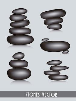 Czarne kamienie spa na szarym tle ilustracji wektorowych
