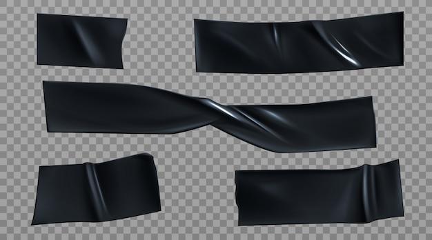 Czarne kawałki taśmy izolacyjnej, zestaw pasków izolacyjnych