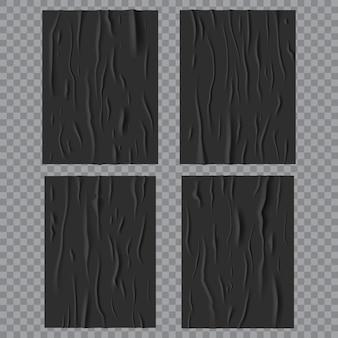 Czarne klejone mokre plakaty, pomarszczona i zmięta faktura papieru. wektor pogniecione prostokątne arkusze z falą na przezroczystym tle, pusta makieta do projektowania reklam. realistyczny zestaw 3d