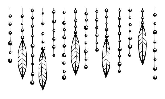 Czarne koraliki z ozdobami na nitce można wykorzystać jako projekt tkaniny, tekstylia domowe, tapety i inne wzory.