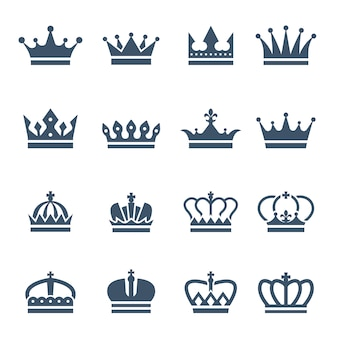 Czarne korony ikony lub symbole