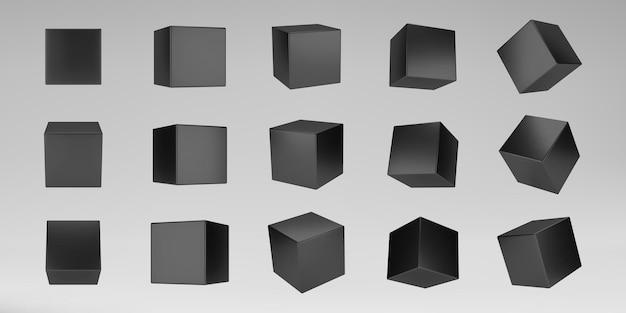 Czarne kostki modelowania 3d zestaw z perspektywą na białym tle