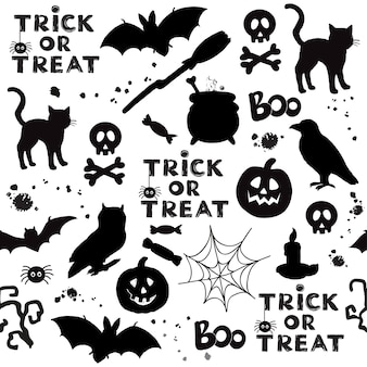 Czarne koty dynia elementy halloween bez szwu wzór