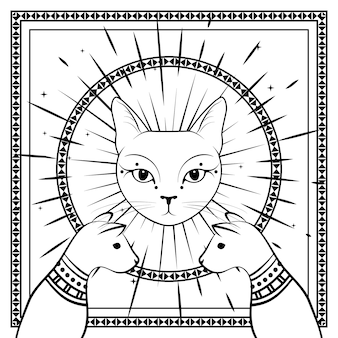 Czarne koty, twarz kota z księżycem na nocnym niebie z ozdobną okrągłą ramą. magia, symbole okultystyczne.