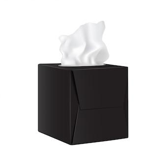 Czarne kwadratowe pudełko z papierowymi serwetkami.