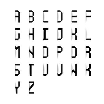 Czarne litery alfabetu z efektem cienia na białym tle. ilustracji wektorowych.