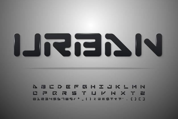 Czarne litery, cyfry i symbole.
