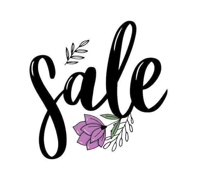 Czarne litery: sprzedaż, ręka naszkicowana typografia napisu sprzedaż